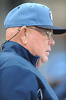 Asheville Tourists Development Supervisor Marv Foley during a game against the Delmarva Shorebirds at McCormick Field on April 5, 2014 in Asheville, North Carolina. The Tourists defeated the Shorebirds 5-3. (Tony Farlow/Four Seam Images)