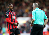 3rd December 2017, Vitality Stadium, Bournemouth, England; EPL Premier League football, Bournemouth versus Southampton; Jermain Defoe of Bournemouth discusses his yellow card with Referee Jonathan Moss