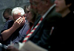 (INTERFAITH PRAYER SERVICE)--On sun sept. 16,2001--23679--A man breaks down in tears during the United in Prayer, Joined in Hope an interfaith service held at the First Presbyterian Chuech in Avenel. Held for the victims of the terrorism in NYC & washington DC this past week.(MARK R. SULLIVAN/HNT CHIEF PHOTOGRAPHER)