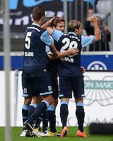 Fussball 2. Bundesliga:  Saison   2012/2013,    4. Spieltag  TSV 1860 Muenchen - MSV Duisburg    31.08.2012 Jubel nach dem Tor zum 1:0, Guillermo Vallori, Benjamin Lauth und Daniel Halfar (v. li., 1860 Muenchen)