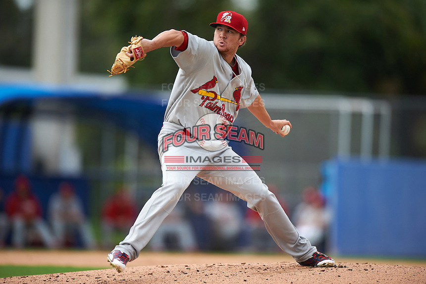 Palm Beach Cardinals pitcher Corey Littrell (21) delivers a pitch during the second game of a doubleheader against the Dunedin Blue Jays on August 2, 2015 at Florida Auto Exchange Stadium in Dunedin, Florida.  Dunedin defeated Palm Beach 2-0.  (Mike Janes/Four Seam Images)