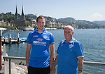 FC Luzern v St Johnstone...16.07.14  Europa League 2nd Round Qualifier<br /> Fans arrive in Lucerne... From left Son & father George and Allan Lauder from Crieff on the banks of the Vierwaldstattersee<br /> Picture by Graeme Hart.<br /> Copyright Perthshire Picture Agency<br /> Tel: 01738 623350  Mobile: 07990 594431