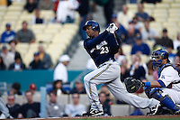 Rickie Weeks of the Milwaukee Brewers during a game from the 2007 season at Dodger Stadium in Los Angeles, California. (Larry Goren/Four Seam Images)