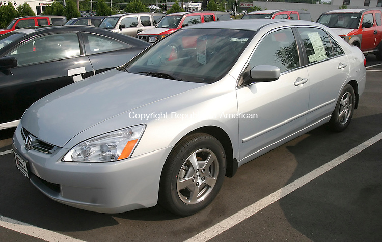 WATERTOWN,  CT 11 August 2005 -081105BZ02- A 2005 Honda Accord V6 Hybrid automobile for sale at Jon Lorensen's Honda of Watertown Thursday. <br /> Jamison C. Bazinet Photo