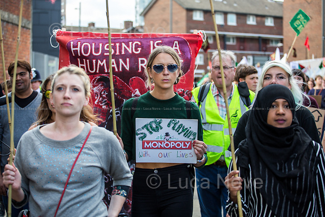 London, 19/09/2015. Today, the &quot;Focus E15 Mothers&quot;, supported by other activist groups, held a demonstration in Stratford (Newham Council) to mark the second anniversary of the &quot;Focus E15 Campaign&quot; and to highlight the housing crisis which afflicts London. The main causes of this long-standing emergency are lack of affordable homes, rising rents and consequently increasing number of evictions. From the organiser Facebook Page: &lt;&lt;To mark the second anniversary of Focus E15 campaign we are organising a march in Newham against evictions and for decent housing for all. [&hellip;] Across the country, the eviction rate has never been so high with 126 families being evicted every day. The housing crisis is escalating and none of the major political parties are offering convincing solutions. Newham Council is led by Labour Mayor Robin Wales [&hellip;]. Under his rule, 400 homes on the Carpenters Estate remain empty while homeless people, whom the council has a statutory duty to house, are forced to move out of London [&hellip;]&gt;&gt;.<br /> <br /> For more information please click here: http://on.fb.me/1V26Xuf &amp; http://focuse15.org/