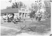 Espanola street scene about 1919.  There is a building with a &quot;Garage&quot; sign, but the only vehicles in sight are horse-drawn.<br /> Espanola, NM  circa 1919