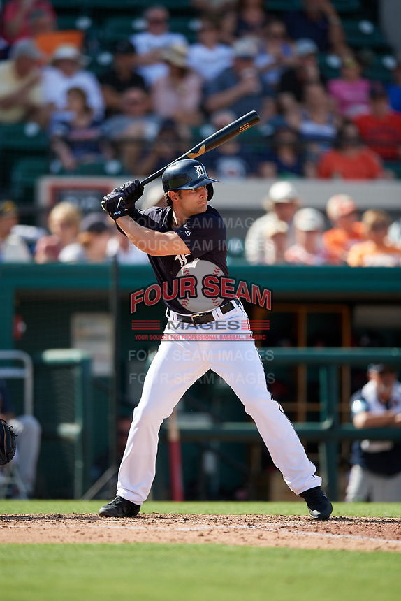 Detroit Tigers first baseman Pete Kozma (33) at bat during a Grapefruit League Spring Training game against the Atlanta Braves on March 2, 2019 at Publix Field at Joker Marchant Stadium in Lakeland, Florida.  Tigers defeated the Braves 7-4.  (Mike Janes/Four Seam Images)