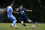 04 October 2016: UNCW's Huntley Munn (17) and North Carolina's Nico Melo (31). The University of North Carolina Tar Heels hosted the UNC Wilmington Seahawks at Fetzer Field in Chapel Hill, North Carolina in a 2016 NCAA Division I Men's Soccer match. UNC won the game 1-0.