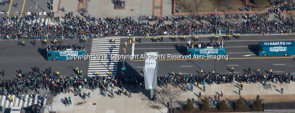 Aerial view of the Philadelphia Eagles Superbowl Victory Parade above the Sports Complex and Art Museum.    Julia Robertson /via AP Images.