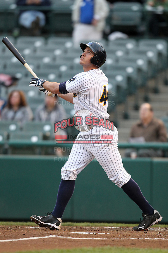 Trenton Thunder designated hitter Cody Johnson #44 during a game against the Portland Sea Dogs at Waterfront Park on May 4, 2011 in Trenton, New Jersey.  Trenton defeated Portland by the score of 7-1.  Photo By Mike Janes/Four Seam Images