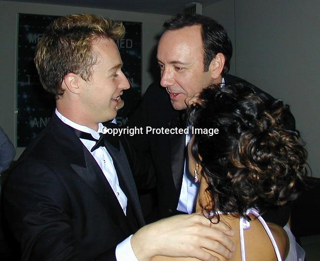 Ed Norton &amp; Kevin Spacey &amp; Salma Hayek<br />2000 Vanity Fair Post Oscar Party<br />Morton's Restaurant<br />Los Angeles, California, USA<br />March 26, 2000<br />Photo by Celebrityvibe.com