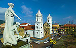Panama, Panama City, Casco Viejo, Statues on top of the Munincipal Palace, Twin White Towers of the Metropolitan Cathedral, Plaza de Catedral, UNESCO World Heritage Site