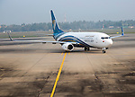 Oman Airways Boeing 737 plane, Bandaranayake International Airport, Colombo, Sri Lanka, Asia