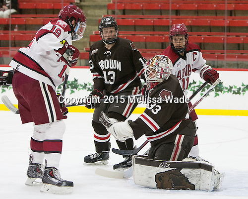Jimmy Vesey (Harvard - 19), Ben Tegtmeyer (Brown - 13), Tim Ernst (Brown - 33), Kyle Criscuolo (Harvard - 11) - The Harvard University Crimson defeated the Brown University Bears 4-3 to sweep their first round match up in the ECAC playoffs on Saturday, March 7, 2015, at Bright-Landry Hockey Center in Cambridge, Massachusetts.