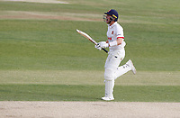 Sam Cook of Essex celebrates scoring the winning runs during Essex CCC vs Kent CCC, Bob Willis Trophy Cricket at The Cloudfm County Ground on 4th August 2020