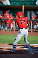 Ryan Vega (21) of the Orem Owlz bats against the Ogden Raptors in Pioneer League action at Lindquist Field on June 21, 2017 in Ogden, Utah. The Owlz defeated the Raptors 16-5. This was Opening Night at home for the Raptors.  (Stephen Smith/Four Seam Images)