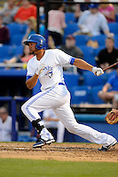 Dunedin Blue Jays outfielder Michael Crouse #21 during a game against the Clearwater Threshers at Florida Auto Exchange Stadium on April 4, 2013 in Dunedin, Florida.  Dunedin defeated Clearwater 4-2.  (Mike Janes/Four Seam Images)