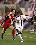 20 March 2008: Freddy Adu (USA) (11) and Dejan Jakovic (CAN) (4) challenge for the ball. The United States U-23 Men's National Team defeated the Canada U-23 Men's National Team 3-0 at LP Field in Nashville,TN in a semifinal game during the 2008 CONCACAF Men's Olympic Qualifying Tournament. With the victory, the United States qualified for the 2008 Beijing Olympics.