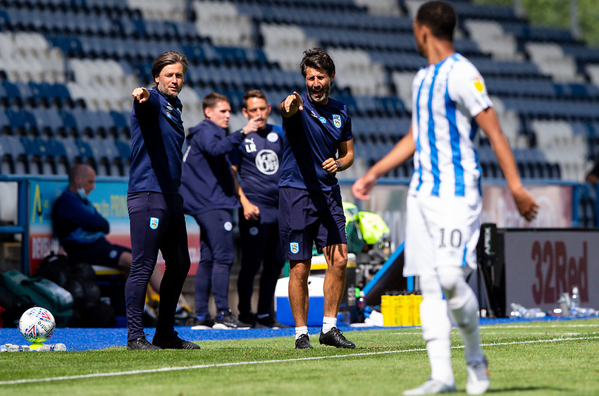 Huddersfield Town manager Danny Cowley and assistant Nicky Cowley shouts instructions from the technical area<br /> <br /> Photographer Alex Dodd/CameraSport<br /> <br /> The EFL Sky Bet Championship - Huddersfield Town v Wigan Athletic - Saturday 20th June 2020 - John Smith's Stadium - Huddersfield <br /> <br /> World Copyright © 2020 CameraSport. All rights reserved. 43 Linden Ave. Countesthorpe. Leicester. England. LE8 5PG - Tel: +44 (0) 116 277 4147 - admin@camerasport.com - www.camerasport.com