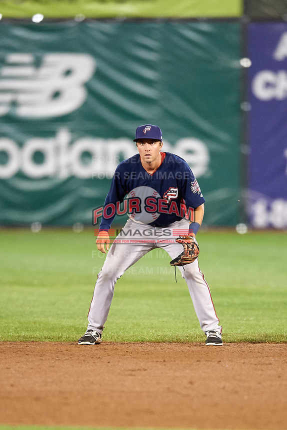 Potomac Nationals second baseman Branden Boggetto (6) during the second game of a doubleheader against the Salem Red Sox on June 11, 2018 at Haley Toyota Field in Salem, Virginia.  Potomac defeated Salem 4-0.  (Mike Janes/Four Seam Images)