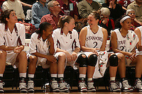 23 February 2006: Morgan Clyburn, Markisha Coleman, Claire Bodensteiner, Krista Rappahahn and Rosalyn Gold-Onwude during Stanford's 100-69 win over the Washington Huskies at Maples Pavilion in Stanford, CA.
