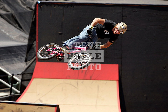 Morgan Wade competes in the BMX Freestyle Park finals during X-Games 12 in Los Angeles, California on August 5, 2006.