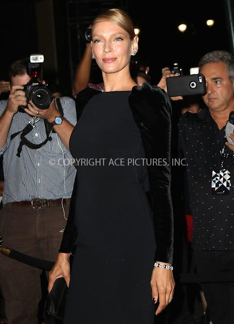 www.acepixs.com<br /> <br /> September 7 2016, New York City<br /> <br /> Uma Thurman attending the Tom Ford fashion show during New York Fashion Week on September 7, 2016 in New York City.<br /> <br /> By Line: Nancy Rivera/ACE Pictures<br /> <br /> <br /> ACE Pictures Inc<br /> Tel: 6467670430<br /> Email: info@acepixs.com<br /> www.acepixs.com