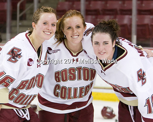 Kelli Stack (BC - 16), Caitlin Walsh (BC - 11), Ashley Motherwell (BC - 18) - The Boston College Eagles defeated the Harvard University Crimson 3-1 to win the 2011 Beanpot championship on Tuesday, February 15, 2011, at Conte Forum in Chestnut Hill, Massachusetts.