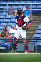 Binghamton Rumble Ponies catcher Colton Plaia (26) during a game against the Hartford Yard Goats on July 9, 2017 at NYSEG Stadium in Binghamton, New York.  Hartford defeated Binghamton 7-3.  (Mike Janes/Four Seam Images)