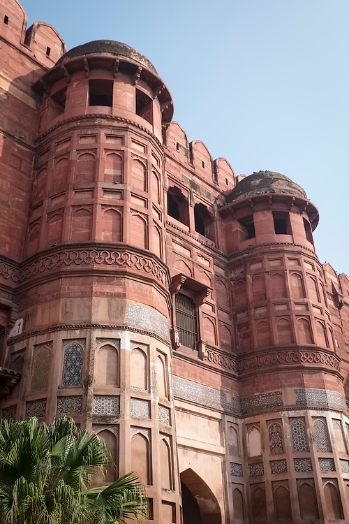 Red sandstone architecture of fortified residences are found within the walls of the Great Fort of Agra.