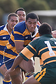 Alepini Olosoni lines up M. Tokalau as he makes a strong break during the CMRFU Counties Power Premier Club Rugby game between Patumahoe & Pukekohe played at Patumahoe on April 12th, 2008..The halftime score was 10 all with Pukekohe going on to win 23 - 18.