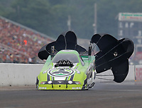Aug 19, 2018; Brainerd, MN, USA; NHRA funny car driver Jonnie Lindberg during the Lucas Oil Nationals at Brainerd International Raceway. Mandatory Credit: Mark J. Rebilas-USA TODAY Sports