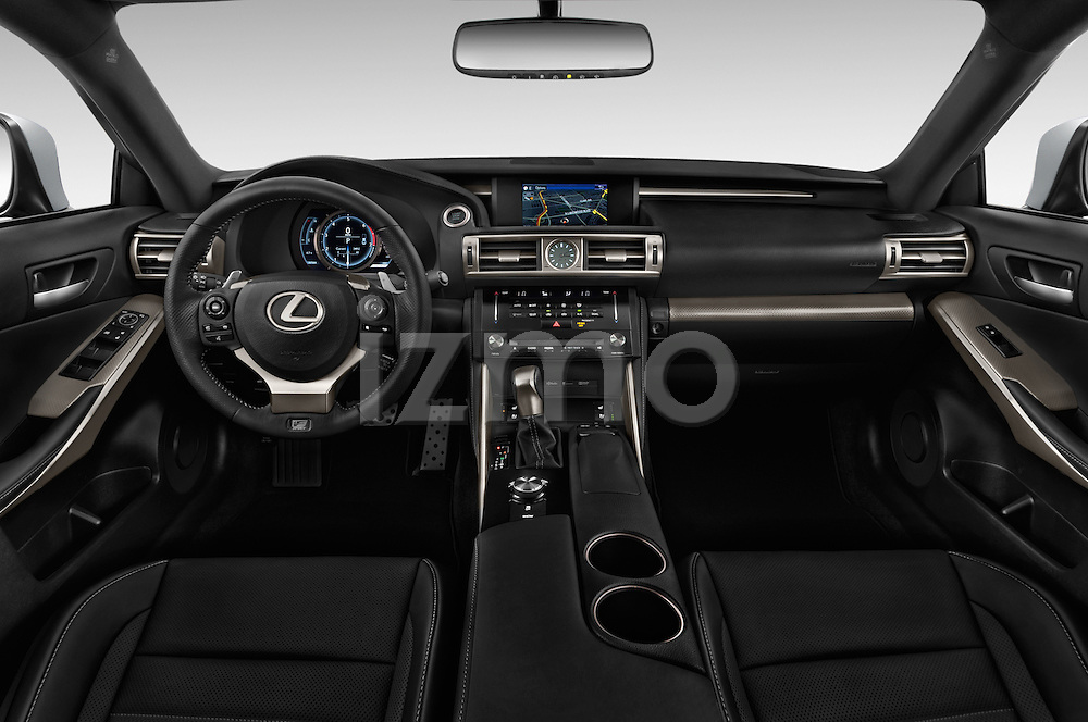 Stock photo of straight dashboard view of 2016 Lexus IS F Sport Line 4 Door Sedan Dashboard