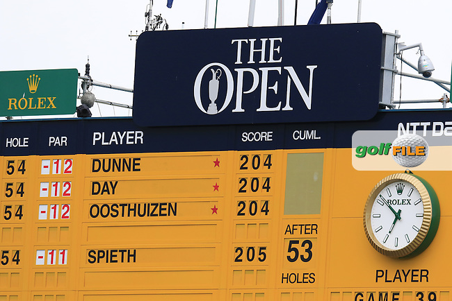 Score board at the end of Sunday's Round 3 of the 144th Open Championship, St Andrews Old Course, St Andrews, Fife, Scotland. 19/07/2015.<br /> Picture Eoin Clarke, www.golffile.ie