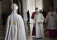 "Pope Benedict XVI;Pope Francis opens a ""Holy Door"" at St Peter's basilica to mark the start of the Jubilee Year of Mercy, on December 8, 2015"
