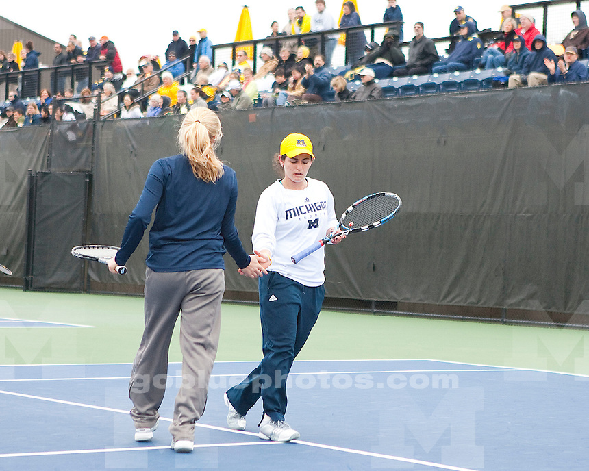 University of Michigan women's tennis 7-0 victory over Ohio State at the Varsity Tennis Center in Ann Arbor, MI, on April 9, 2011.