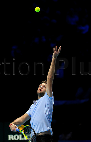 18th November 2017, O2 Arena, London, England; Nitto ATP Tennis Finals; Jack Sock (USA) serves to Grigor Dimitrov (BUL)