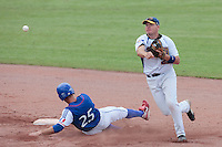 30 july 2010: Rickard Reimer of Sweden throws the ball to first base for a double play during Sweden 3-2 win over France, in day 6 of the 2010 European Championship Seniors, at TV Cannstatt ballpark, in Stuttgart, Germany.