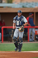Brevard County Manatees catcher Dustin Houle (9) during a game against the Lakeland Flying Tigers on April 19, 2016 at Henley Field in Lakeland, Florida.  Lakeland defeated Brevard County 9-2.  (Mike Janes/Four Seam Images)