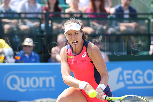 June 17th 2017, Nottingham, England;WTA Aegon Nottingham Open Tennis Tournament day 6;  Backhand volley from Johanna Konta of Great Britain on her way to winning the first set against Magdalena Rybarikova of The Slovak Republic