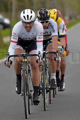 27.03.2016. Deinze, Belgium.  CANCELLARA Fabian (SUI) Rider of TREK - SEGAFREDO and SAGAN Peter (SVK) Rider of TINKOFF in action during the Flanders Classics UCI World Tour 78nd Gent-Wevelgem cycling race with start in Deinze and finish in Wevelgem