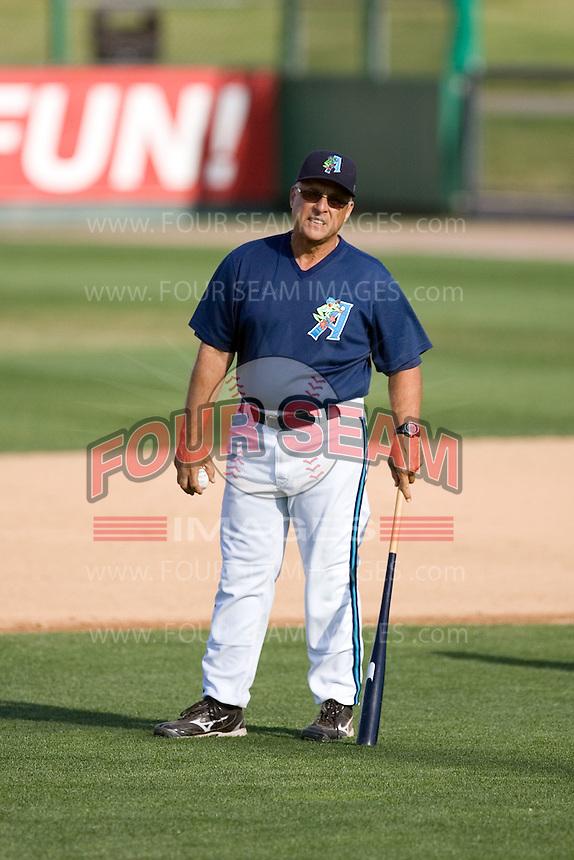 July 4, 2009: Everett AquaSox manager John Tamargo hits pre-game fungos prior to a Northwest League game against the Yakima Bears at Everett Memorial Stadium in Everett, Washington.