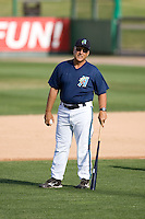 July 4, 2009: Everett AquaSox manager John Tamargo hits pre-game fungos prior to a Northwest League game against the Yakima Bears at Everett Memorial Stadium in Everett, Washington.