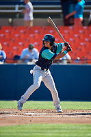 Lynchburg Hillcats center fielder Tre Gantt (8) at bat during the first game of a doubleheader against the Frederick Keys on June 12, 2018 at Nymeo Field at Harry Grove Stadium in Frederick, Maryland.  Frederick defeated Lynchburg 2-1.  (Mike Janes/Four Seam Images)