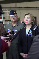 Sept 2001 file photo -   Senator Hillary Rodham Clinton <br /> Speaking to reporters about National Defense and the status of a proposed new round of Base Realignments and Closures (BRAC), Senator Hillary Clinton stands with Colonel James W. Kwiatkowski, 107th Air Refueling Wing commander.