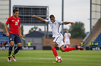 Marcus Rashford (Manchester United) of England tries a Rabona during the International EURO U21 QUALIFYING - GROUP 9 match between England U21 and Norway U21 at the Weston Homes Community Stadium, Colchester, England on 6 September 2016. Photo by Andy Rowland / PRiME Media Images.