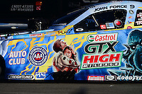 Nov. 9, 2012; Pomona, CA, USA: NHRA funny car driver John Force during qualifying for the Auto Club Finals at at Auto Club Raceway at Pomona. Mandatory Credit: Mark J. Rebilas-
