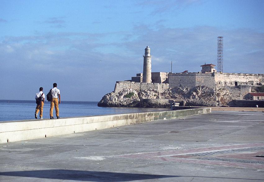Cuba Havana Harbor Harbour boys walking to school uniforms