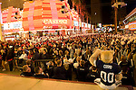 Arizona and BYU fans, marching bands and cheerleaders  gathered in front of the 3rd St. Stage for a spirited pre-game pep rally.