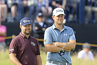Ryan Moore (USA) and Bernd Wiesberger (AUT) on the 14th green during Thursday's Round 1 of the 145th Open Championship held at Royal Troon Golf Club, Troon, Ayreshire, Scotland. 14th July 2016.<br /> Picture: Eoin Clarke | Golffile<br /> <br /> <br /> All photos usage must carry mandatory copyright credit (&copy; Golffile | Eoin Clarke)